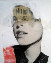 Collage of a defaced woman with a white background.