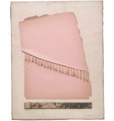 Collage of vintage pink paper and other mixed media materials.