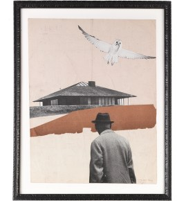 Vintage style collage composition with a man seen from his back, a house and a owl flying over him.