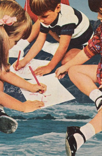 Collage of a group of kids writing on a paper and sitting over the ocean.