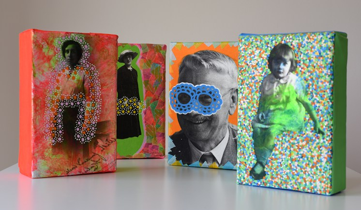 Still life photo of a group of 4 canvases with vintage portraits decorated with mixed materials.