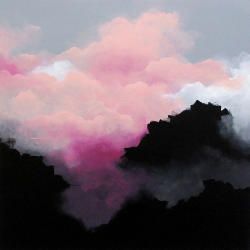 Painting of a group of clouds coloured in pink, white and black.