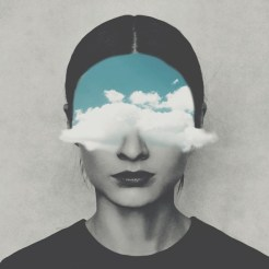 Surreal collage of a defaced woman with clouds covering her eyes.