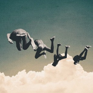 Surrealist collage of four people floating over a cloudy sky.