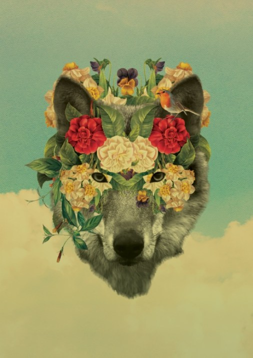 Surrealist collage of a wolf head decorated with flowers.