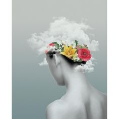 Surrealist collage of a woman seen from her back with flowers growing inside her head.
