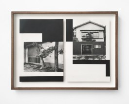 Photo of a framed collage of a black and white photo oh a house decorated with black minimal geometric forms.