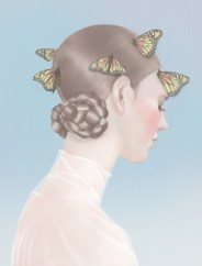 Illustration of a woman portrait with butterflies over her hair.