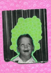 Photo transfer on canvas of a vintage photo booth portrait of a kid looking up, decorated with coloured pens.