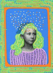Photo transfer on canvas of a vintage photo booth portrait of a young girl, decorated with coloured pens.