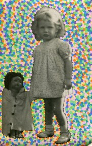 Collage of a baby girl with a big doll aside surrounded by tiny coloured dots created with posca pens.