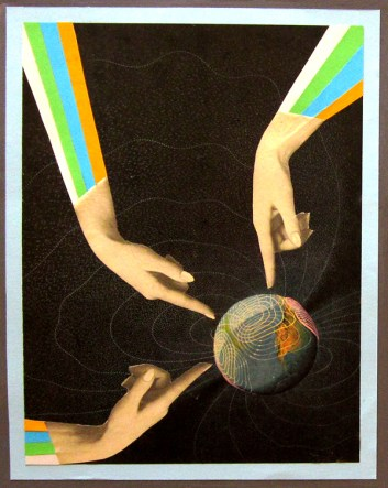 Collage of three hands pointing the finger to a small heart that is floating into a black space.