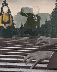 Collage of a couple of giant hands playing the stairs as they would be the piano keys.