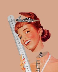 Collage of a smiling woman with a giant meter in her hands. The head of the woman is floating in the air, inside her neck there is a man, inside her head a group of other men.