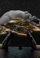 Collage of a woman in bikini lying over a light city night landscape.