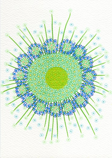 Abstract collage of organic and geometric forms realised with washi tape and blue and green pens.
