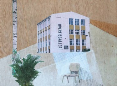 Mixed media collage of a surreal landscape of a building surrounded by a plant, a tree, a chair and some geometric patterns.