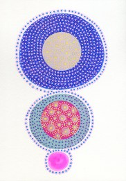 Abstract collage of organic and geometric forms realised using circular elements.