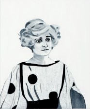 Black and white painting of a woman portrait.