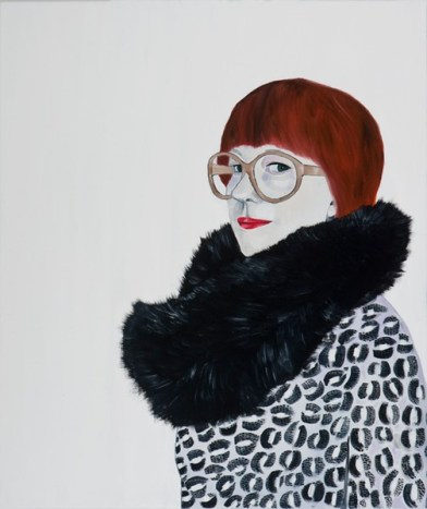 Three quarter profile portrait painting of a woman with glasses.
