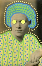 Collage realised over a vintage woman portrait and decorated with neon yellow stickers and blue and yellow pens.