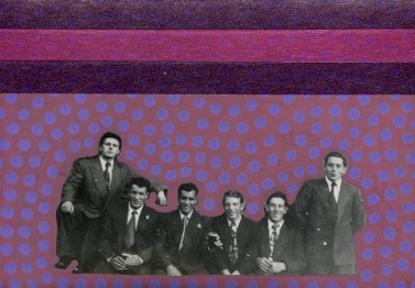 Collage on vintage group photo of men.