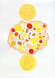 Abstract collage of organic and geometric forms realised using yellow colours.