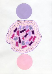 Abstract collage of organic and geometric forms realised using pastel pink and purple colours.