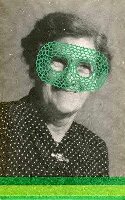 Collage over a vintage woman portrait decorated with green shades.