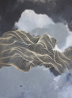 Abstract paintings of golden fluid lines moving over a grey and black background.