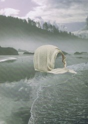 Collage od a faceless giant head covered by a veil that floats into a watery landscape.