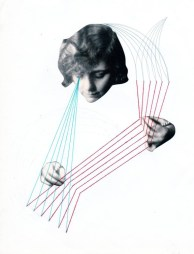 Collage of a woman head and a pair of hands that are holding coloured yarns.