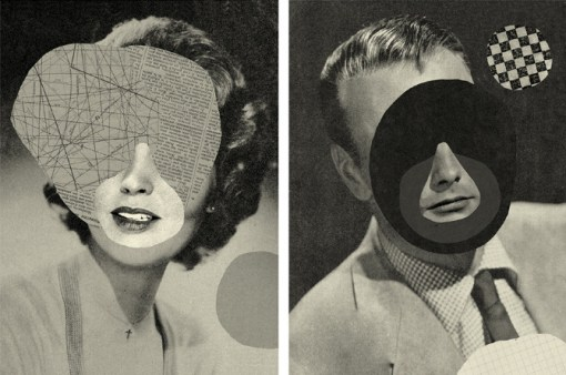 Diptych collage of a male and female defaced portraits.