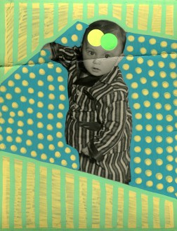 Collage over a portrait photo of a baby dressed with a striped suit.