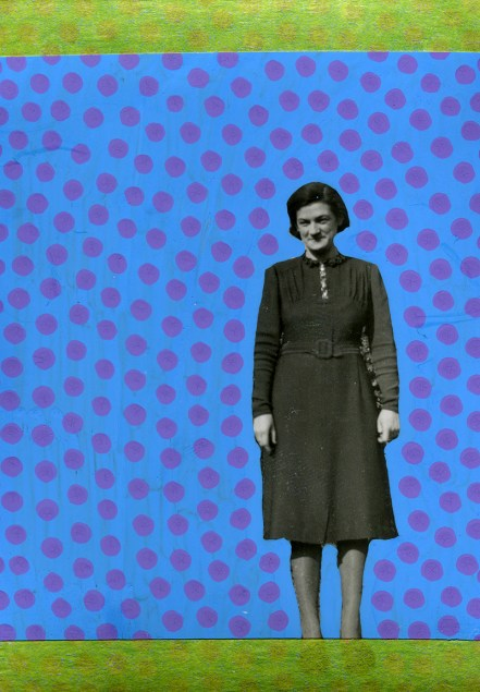Collage over a found photo of a woman surrounded of tiny purple dots.