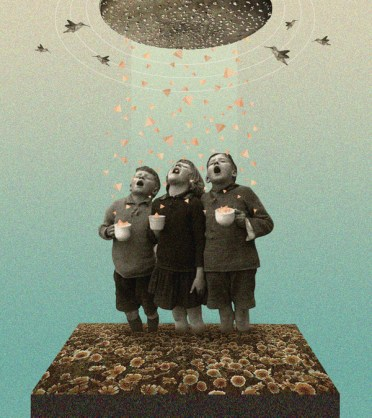 Group of 3 boys eating little triangles coming from the sky.