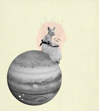 Woman with a fix head sitting over Jupiter planet.