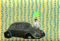 Collage over a retro portrait of a woman behind a car, decorated using stickers and pens.