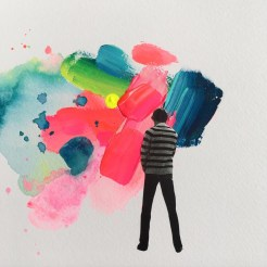 Man seen from the back that is painting a giant abstract composition.