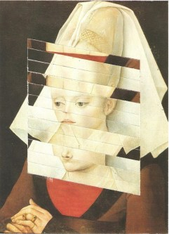 De-structured geometric collage over a classic portrait painting.