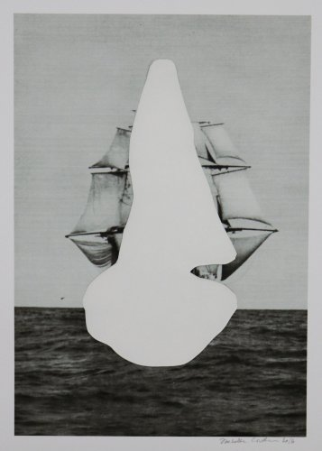 collage of a sailing whip covered with a white shape.