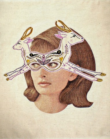 Vintage woman portrait with an intricate hand stitched nature inspired decoration over her eyes.