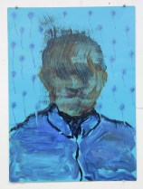 Blue and light blue defaced portrait painting.