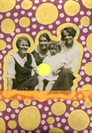 Vintage women group photo decorated with red wine, beige and yellow pens, neon orange washi tape and fluorescent yellow stickers.