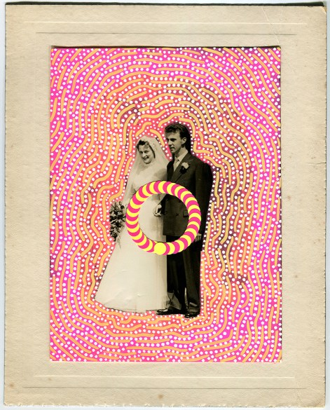 Vintage wedding photo decorated with dotty stickers and posca pens.