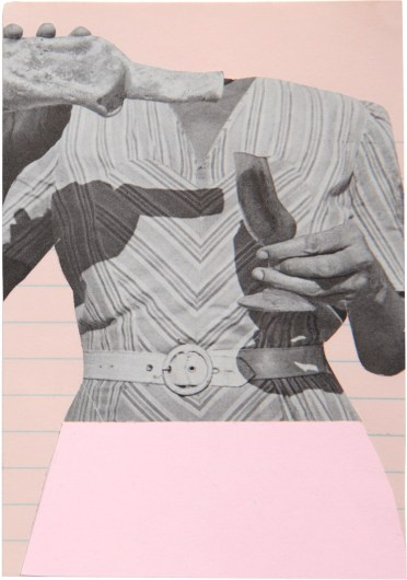 Woman body decorated with pink paper.