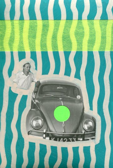 Man with his car vintage photo decorated with neon washi tape, stickers and pens.