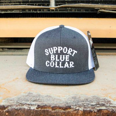 Support Blue Collar – Meshback Snapback (Charcoal / White)
