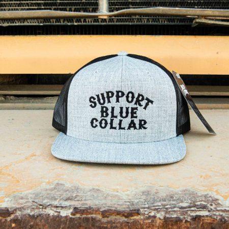 Support Blue Collar – Meshback Snapback (Grey / Black)