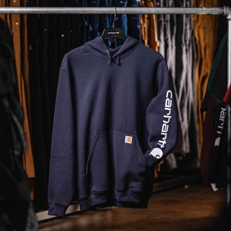 MIDWEIGHT HOODED LOGO SWEATSHIRT (NAVY)